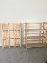 Pair of folding wood shelving units, solid wood frame, 30in wide x 38in high in Camp Lejeune, North Carolina