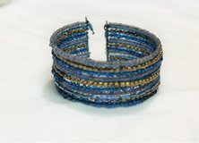 Blue Gray Gold Multi Strand Cuff Boho Bead Chain Bracelet Statement in Kingwood, Texas