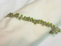 """NWOT  Silver Tone 8"""" Green Charm Toggle Chain Link Strand Bead Bracelet Statement in Kingwood, Texas"""
