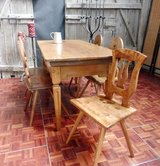 Rare early 1900s Solid Cherrywood Dining Table with 5 Chairs All Hand Made in Ramstein, Germany