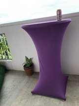 Round Bar Table (Indoor or outdoor) with Purple Covers in Okinawa, Japan