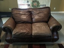 Leather Brown Loveseat in Kingwood, Texas