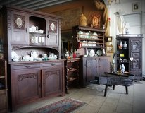 elegant oak dining room hutch from the turn of the century with bevelled glass in Spangdahlem, Germany