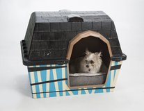 Dog house with new bedding in The Woodlands, Texas