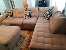 Beautiful Simmons Tan microfiber suede sectional, chaise and ottoman in Camp Lejeune, North Carolina