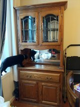 Oak hutch dish cabinet end table in Fort Lewis, Washington