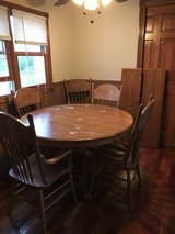 Wooden kitchen table with 2 leaves,6 chairs in Tinley Park, Illinois