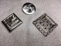 Vintage Scarf Clips Lot of 3 Silver Working Clasp on Back Different Styles and Shapes Look New in Houston, Texas