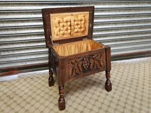 Carved Oak Stool Sewing Box others available in Lakenheath, UK