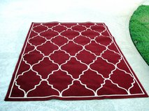 PATIO AREA RUG DEEP RED & IVORY EXCELLENT CONDITION in Perry, Georgia