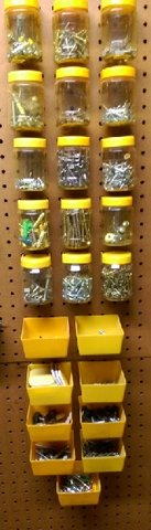 Peg Board Containers (24) filled with tons of Nails, Screws, etc. REDUCED PRICE in Kingwood, Texas