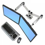 Ergotron dual side by side fully adjustable monitor arms desk top clamp mount in Batavia, Illinois
