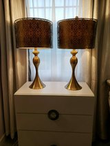 Set of Metal Art Gold Table Lamps in Bolingbrook, Illinois