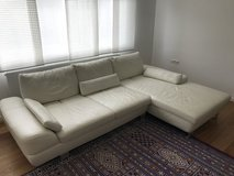 European White Leather Couch in Stuttgart, GE