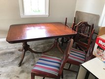 Duncan Phyfe double pedistal dining room table with 6 chairs in Moody AFB, Georgia