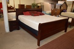 King Sleigh Bed Frame with 2 nightstands in Fort Lewis, Washington
