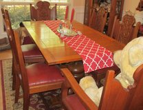 Antique Oak Pub-Style Table w/6 Beautifully Carved Chairs in Warner Robins, Georgia