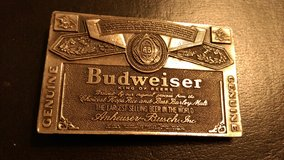 Retro Budweiser belt buckle in Byron, Georgia