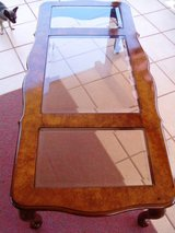 Wooden Coffee Table With Three Glass Inserts in Alamogordo, New Mexico