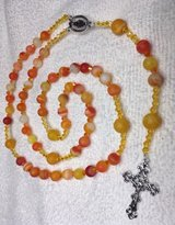 Rosary Orange Striped Matte Agate Beads Czech Spacers Silver Medal and Crucifix Happy Summer Rosary in Houston, Texas