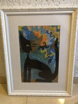 cat drawing, wood frame in Ramstein, Germany