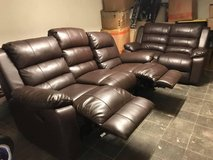 3 Seater and Love seat brown leather couch set in Stuttgart, GE