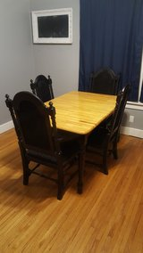rustic farm dining table and chair set in Morris, Illinois