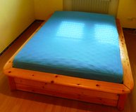 Solid Wood Bedroom Set Bed Closet and Nightsatnd inc Mattress and Boxspring in Ramstein, Germany