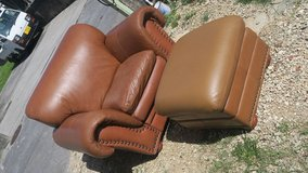 very confortable LARGE Leather seat & ottoman in Okinawa, Japan