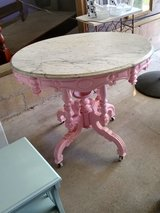 early antique chalk painted table in Cherry Point, North Carolina