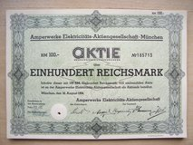 85-Year Old Old German Stock Certificate in Grafenwoehr, GE