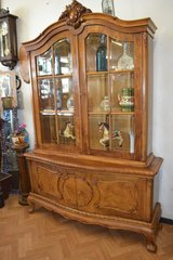 Very beautiful Baroque style wooden cabinet with showcase out of Walnut with a carved crown in Wiesbaden, GE