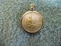 Statehood Quarter Coin Bezel Pendant W/ 18k GP Chain Jewelry - in Cherry Point, North Carolina