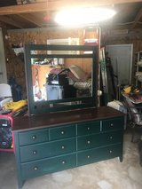 Green dresser with mirror in Fort Leonard Wood, Missouri