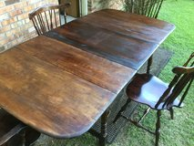 Exotic Antique Solidwood Folding Dinner Table with Center Leaf and Chairs in Camp Lejeune, North Carolina