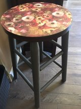 Floral decoupaged stool, one in Morris, Illinois