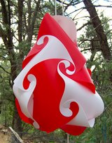 Hanging Lamp ~ Funky Red & White Kaleidoscopic Pattern in Alamogordo, New Mexico