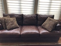 Leather Couch, Love Seat, Chair, Ottoman and Pillows in Naperville, Illinois