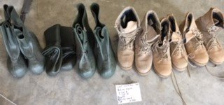 Boots 5 dollars each in Fort Knox, Kentucky