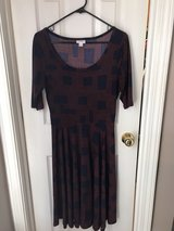 Lularoe Nicole dress, dark blue and burgundy - med in Camp Lejeune, North Carolina