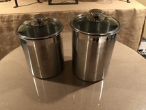 2 Stainless Steel Canisters with Glass Tops in Glendale Heights, Illinois
