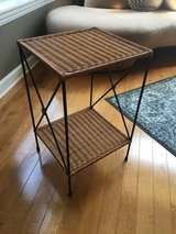 Wicker and metal side table in Palatine, Illinois