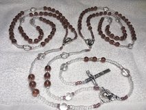 Lasso Wedding Rosary Lilac and Clear Glass Crystal Beads Italian Silver Medals and Crucifix Eleg... in Kingwood, Texas