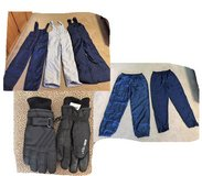 Snow Bib Overalls - 3 Pair - Snow Pants - 2 Pair and Gloves in Tomball, Texas