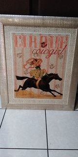 Large Rose Gold Framed Cowgirl With Horse in Cleveland, Texas