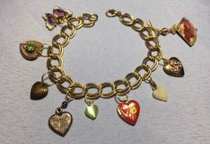 Charm Bracelet Vintage Lockets and Hearts Gold Colored Metal Fan which Opens and Closes One of a... in Houston, Texas