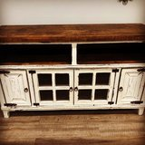 Amazing White Distressed Rustic Tv Stand in Houston, Texas