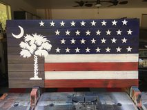 SC state tree (Palmetto) with Stars and Stripes elements in Beaufort, South Carolina