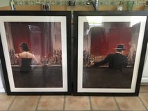 """2 Brent Lynch Art Paintings - Framed - Cigar Bar & Evening Lounge (23""""x31"""") in Naperville, Illinois"""