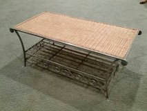 Metal and wicker coffee table in Orland Park, Illinois